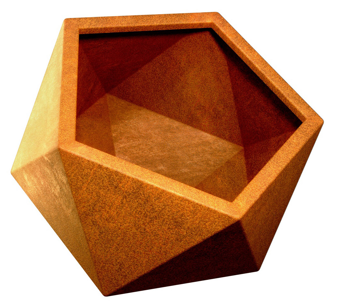 Geometrische Corten Bloempot - cortena.nl